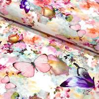 Digijoustocollege: Butterflies and flowers, monivärinen