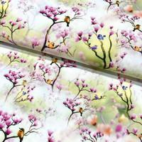 Puuvillapopliini: Asian birds pieni, valkoinen - fuksia - vihreä