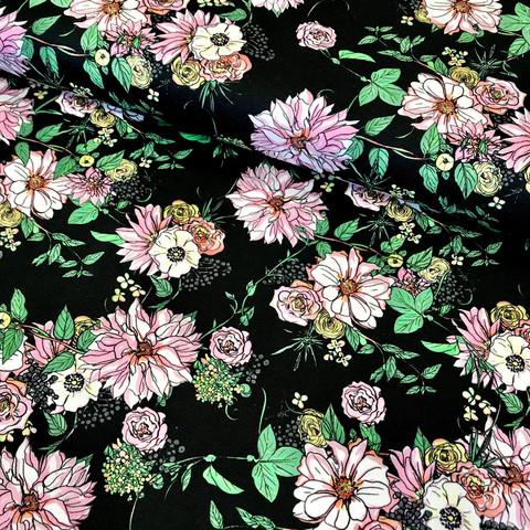 Hellin: Lush Luomupuuvillatrikoo, musta - vaaleanpunainen