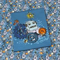 Digitrikoo: Ropotti ja ratakset, sininen -raportti 65 x 150cm