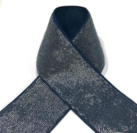 Pehmoinen glitterikuminauha 40mm, tummansininen