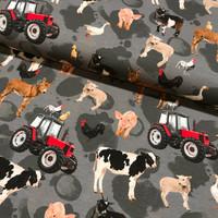 Luomupuuvillatrikoo: Maatilan eläimet ja traktorit, harmaa