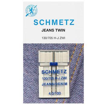 Ompelukoneneula: Schmetz twin jeans 100/4 (farkkuneula)
