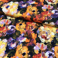 Viskoositrikoo: Painted flowers, okra - oranssi