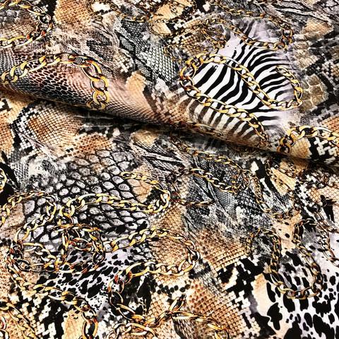 Viskoositrikoo: Animal print, beige - kulta