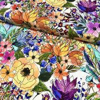 Viskoositrikoo: Poppies and flowers, monivärinen - valkoinen