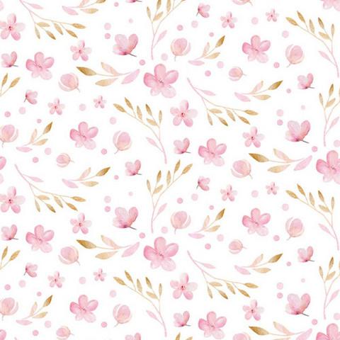 Luomupuuvillatrikoo: Pienet vaaleanpunaiset vuokot, valkoinen