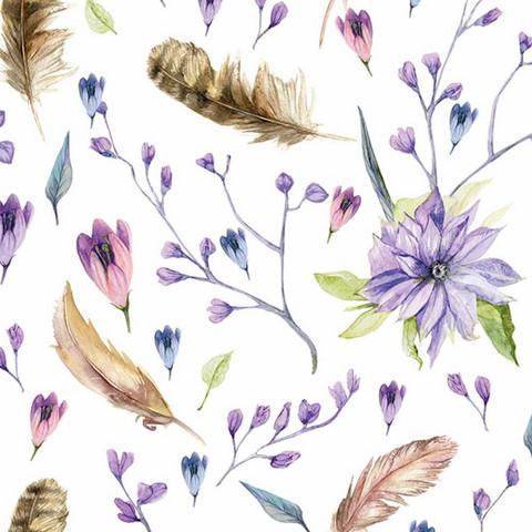 Luomupuuvillatrikoo: Siniset kukat ja sulat, valkoinen