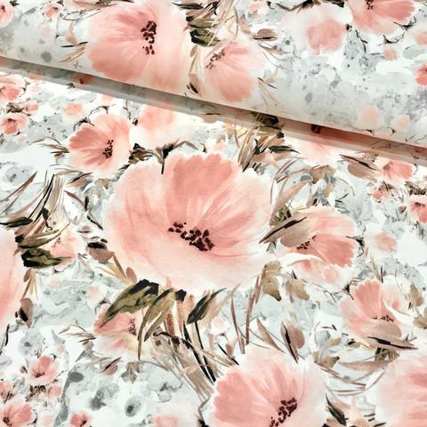 Digitrikoo: Isot kukat, roosa - vaaleanharmaa