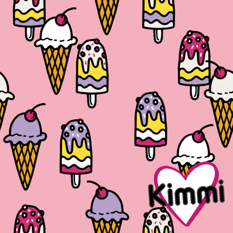 Kimmi, luomupuuvillatrikoo: Icecream, vaaleanpunainen