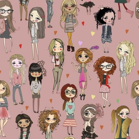 Luomupuuvillatrikoo: Girls, vanha roosa