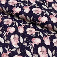 Luomupuuvillatrikoo: Poppies, tummansininen - vaaleanpunainen