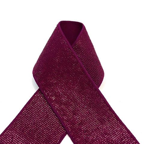 Pehmoinen glitterikuminauha 40mm, viininpunainen