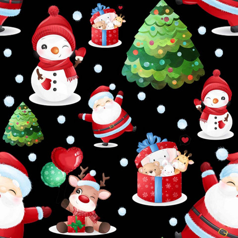Luomupuuvillatrikoo: Joulupukki ja lumiukot, musta
