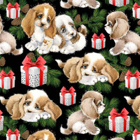 Luomupuuvillatrikoo: Puppies, musta
