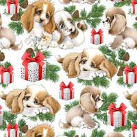Luomupuuvillatrikoo: Puppies, valkoinen