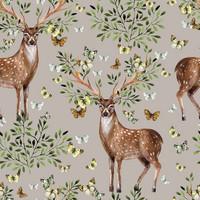 Luomupuuvillatrikoo: Deer and butterflies, taube