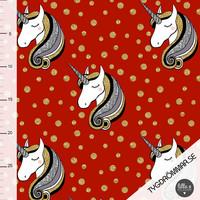Tygdrömmar, luomutrikoo: Glitter unicorns, punainen
