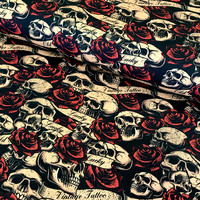 Digitrikoo: Skulls and roses, vintage tattoo
