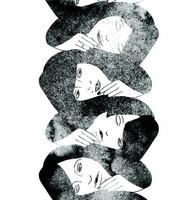 Hellin: Sisarukset Luomupuuvillatrikoo, Keskikoinen kuvio, Valkoinen - Musta