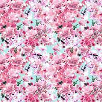 Digitrikoo: Small flowers, pinkki - turkoosi
