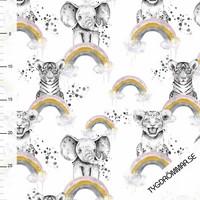 Tygdrömmar, luomutrikoo: Rainbow animals, valkoinen