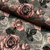 Digijoustocollege: Big roses, roosa - harmaa