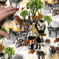 Stenzo, digitrikoo: Villieläimet - seepra, leopardi, leijona, valko - harmaa