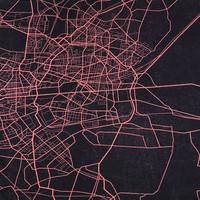 Digijoustocollege: Urban map - tummansininen - koralli, 70cm x 150cm
