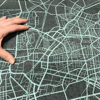 Digijoustocollege: Urban map - harmaa - turkoosi, 70cm x 150cm