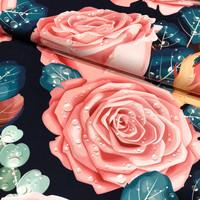 Digitrikoo: Big roses, tummansininen petrooli