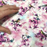 Puuvillapopliini: Bird and flowers pieni, pinkki - vaaleansininen