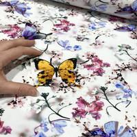 Digijoustocollege: Butterflies, valkoinen / okra - violetti