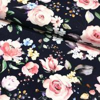 Digijoustocollege: Flowers, tummansininen - vaaleanpunainen