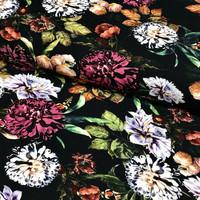 Digijoustocollege: Flowers, musta - monivärinen