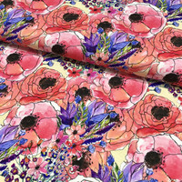 Viskoositrikoo: Poppies and flowers, pinkki - vaaleankeltainen