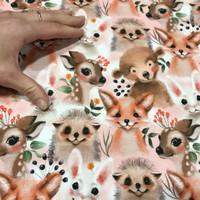 Luomupuuvillatrikoo: Eläinystävät mini, hento vaaleanpunainen