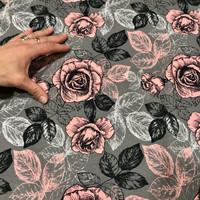 Digitrikoo: Big roses, roosa - harmaa