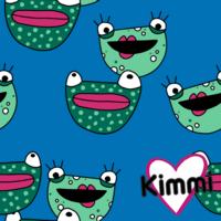 Kimmi, Organic jersey: Frogs, blue