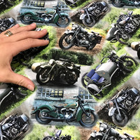 Digitrikoo: Museomoottoripyörät, harmaa - vihreä - sininen