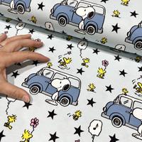 Snoopy trikoo: Snoopy and minivan, vaaleansininen