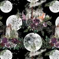 Luomupuuvillatrikoo: Full moon and flowers, musta