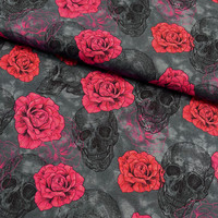 Digitrikoo: Skulls and roses, harmaa - punainen