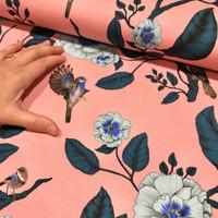 Luomupuuvillatrikoo: Linnut ja kukat, roosa - turkoosi