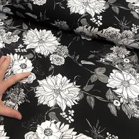 Hellin: Lush iso kuvio, musta-valkoinen