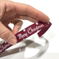 Ripsinauha: Merry Christmas, viininpunainen, 16mm / 1m