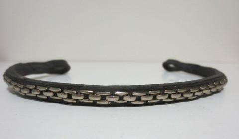 Otsapanta, kapea, hopeakoristeella 37 cm