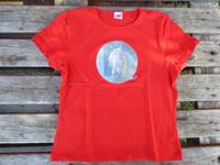 UUSI punainen T-paita Kuningas Viesker-painatuksella, L koko