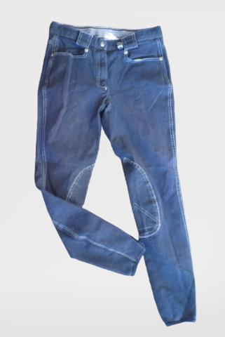 Tummansiniset polvipaikkaiset ratsastushousut  koko lienee 150 cm