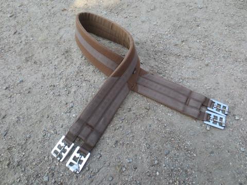 Ruskea satulavyö, kevyesti topattu kangasvyö  135 cm